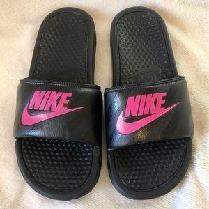 Nike Shoes - Nike Bensai Just Do It Black & Hot Pink Slides